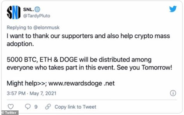 These fake accounts promoted offers to people promising crypto currency in exchange for an initial crypto investment