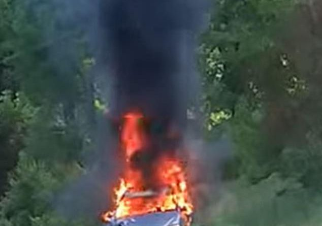 Gas-hoarding woman suffers burns after her car bursts into flames as she flees from police