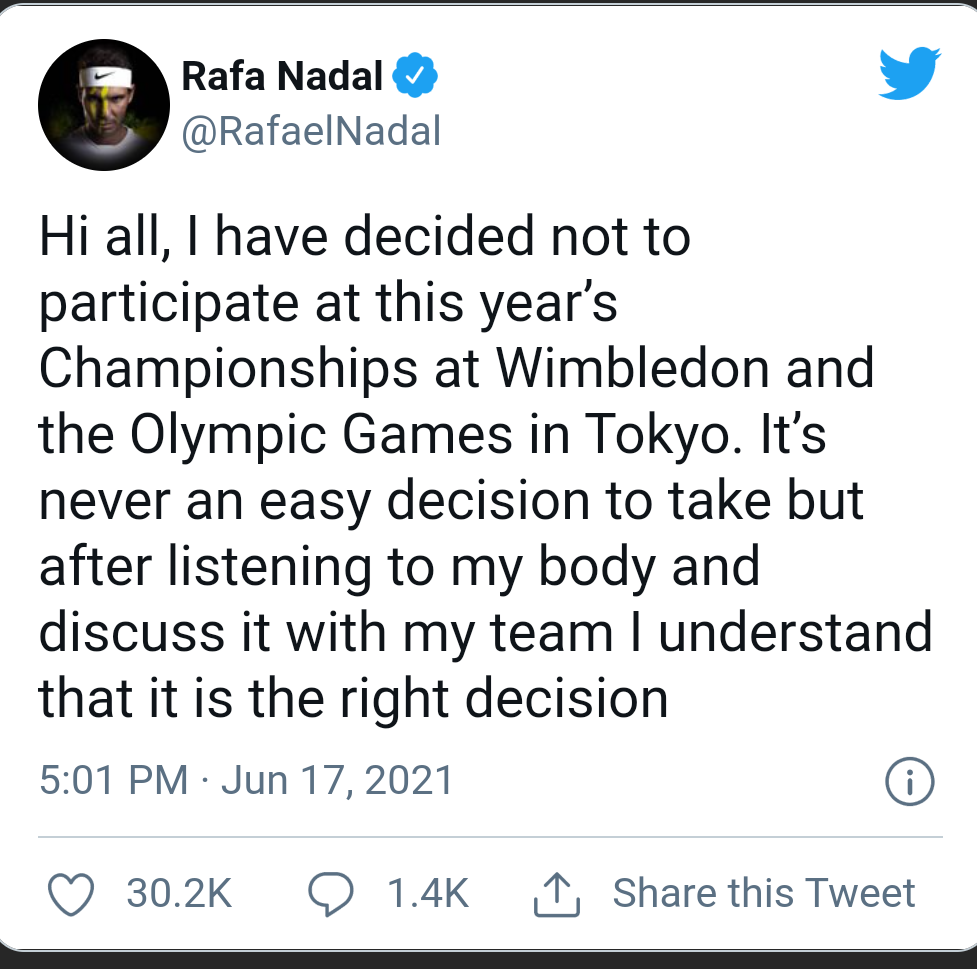 """""""Never An Easy Decision"""": Rafael Nadal Pulls Out Of Wimbledon, Tokyo Olympics"""